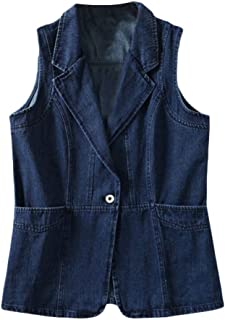 RkYAO Women's Washed Plus-Size Slim Sleeveless Mid Long Denim Vest Jacket