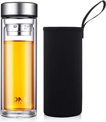 水筒 ボトル ONEISALL ガラス水筒 耐熱ガラス 透明 水筒の専門店 二重ガラス ケータイマグ 茶こし付き 男女兼用 贈り物 直飲み (400ml)