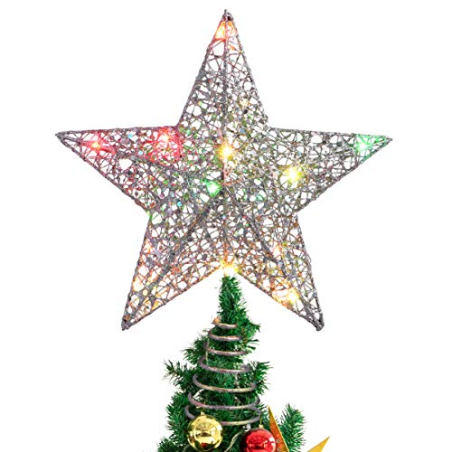 NUOBESTY Christmas Tree Topper Colorful Lights Christmas Decor Treetop Star for Shopping Mall Party Home Christmas, 25 x 30cm (Silver)