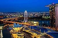 マリーナベイサンズのナイトライト - シンガポール - ワールド - #49278 - キャンバス印刷アートポスター 写真 部屋インテリア絵画 ポスター 50cmx33cm