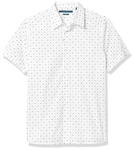 Perry Ellis Men's Rectangle Print Stretch Short Sleeve Button-Down Shirt, Bright White, X Large