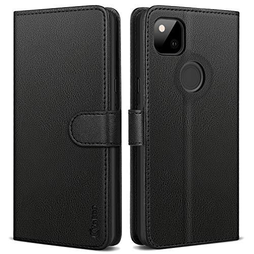 Vakoo Handyhülle für Google Pixel 4a Hülle, Premium Leder Flip Hülle Schutzhülle mit RFID Schutz für Google Pixel 4a Tasche, Schwarz