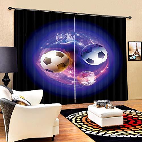 Vorhänge 3D 2 Panels Für Wohnzimmer Schlafzimmer Dekor Öse/Ring Top Window Panels - Glowing Football