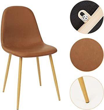 CangLong Washable PU Cushion Seat Back, Mid Century Metal Legs for Kitchen Dining Room Side Chair, 4 pcs pack, Brown 4