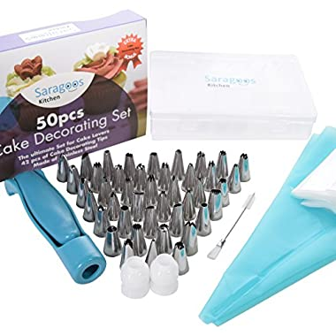 Premium Cake Decorating Supplies 50 pcs. in One Set, 42 Numbered Stainless Steel Tips, 2 Silicone Pastry Bags, 2 Couplers, 20 Disposable Piping Bags, Storage Case - BONUS Cake Decorating Pen