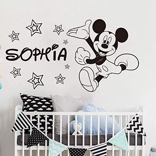 Modeganqingg Bienvenido Mouse Apliques de Vinilo niño niño decoración de la habitación Pared de Vinilo Pintura de Pared Nombre Personalizado Etiqueta de la Pared Negro 77x42cm