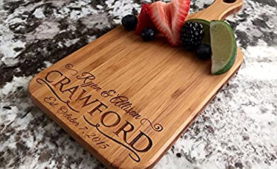 Personalized Engraved Cutting Board Crawford Design with Handle Housewarming and Wedding Gift for Kitchen (5 x 11 Bamboo Paddle Shaped by Qualtry