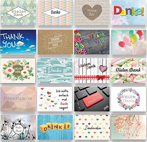 Dankeskarte Dankeskarten Dankeschön Karten Danksagungskarten Konfirmation Hochzeit Karte Thank you Kollege Kollegin Karte Danke Postkarte Vielen Dank (Bunt)