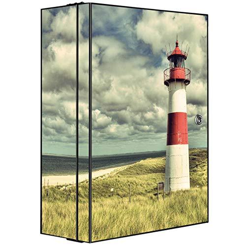 banjado XXL Medizinschrank abschliessbar | großer Arzneischrank 35x46x15cm | Medikamentenschrank aus Metall grau | Motiv Leuchtturm Sylt mit 2 Schlüsseln | Gestaltung auf Front und Seiten