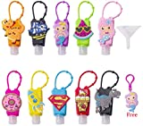 10pcs 1oz 30ml Empty Kids Hand Sanitizer Silicone Cartoon Travel Bottle Holders Keychain Carrier Travel Size With Silicone Case Leak-proof Refillable Container Liquid soap, Lotion