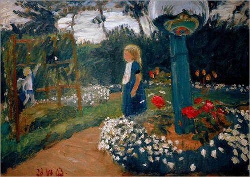 Posterlounge Leinwandbild 70 x 50 cm: Elsbeth im Garten von Otto Modersohn/akg-Images - fertiges Wandbild, Bild auf Keilrahmen, Fertigbild auf echter Leinwand, Leinwanddruck