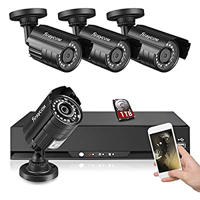 Rraycom 8CH Security Camera System 1080P Lite 5 in 1 DVR with 1TB Hard Drive and (8) 1080P HD Outdoor/Indoor IP67 Weatherproof CCTV Surveillance Cameras