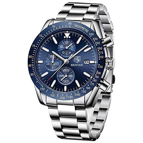 BENYAR - Wrist Watch for Men, Stainless Steel Strap Watches Quartz Movement, Waterproof Analog Chronograph Business Watches