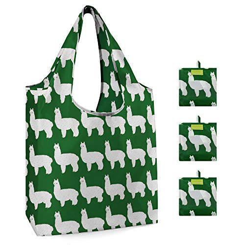 Grocery Shopping Bag Machine Washable Ecofriendly Reusable Tote Foldable with Attached Pouch Durable Animal Shopping Tote Bag Cute Alpaca Pattern Set of 3 Green