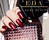 EDA LUXURY BEAUTY DARK RED BURGUNDY LUXE DESIGN Full Cover Acrylic Press On Nails Professional Artificial Nail Art Tips Gel False Nails Extra Long Ballerina Coffin Square Super Fashion Fake Nails