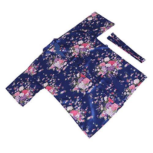 ABOOFAN Kimono de Seda Bata Floral para Mujer Bata de Baño Suave Ropa de Dormir Corta Novia Dama de Honor Batas Bata Pijama para Verano Bata Azul Oscuro