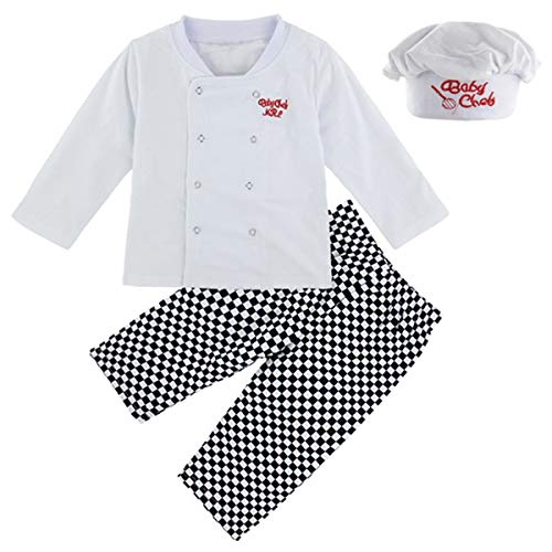 MOMBEBE COSLAND Disfraz Cocinero Niño Conjunto de Camiseta Manga Larga Gorro (Cocinero, 3 años)