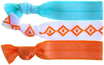 Twistband TRIBAL Hair Tie Pack of 3 Turquoise/ Tribal pattern on white/ Orange