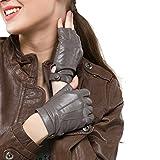 Nappaglo Gants en cuir femme pour conduire Doeskin Demi doights Moto Cycle Gants sans doigts (L (périmètre de la paume:19.2cm), Gris)