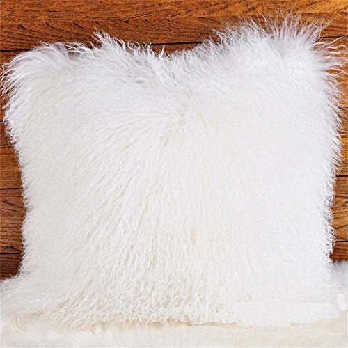 Seek4comfortable 100% Real Mongolian Lamb Sheepskin Wool Fur Throw Pillow Cover  Fur Decorative Cushion Cover Pillow Case for Living Room Bedroom,White, 20 x 20 in