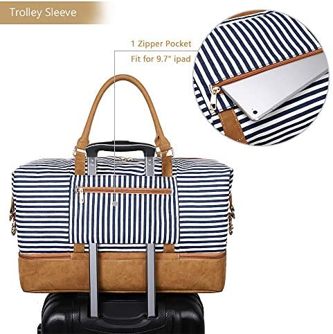 Plambag Canvas Duffel Weekender Bag with Shoe Compartment 42L Overnight Travel Tote Bag(Blue Stripe)