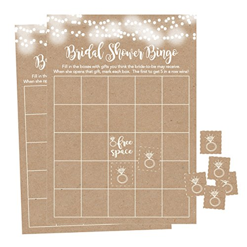 25 Rustic Kraft Bingo Game Cards For Bridal Wedding Shower and Bachelorette Party, Bulk Blank Squares To Fill In Gift Ideas, Funny Supplies For Bride and Couple PLUS 25 Wedding Ring Bingo Chip Markers