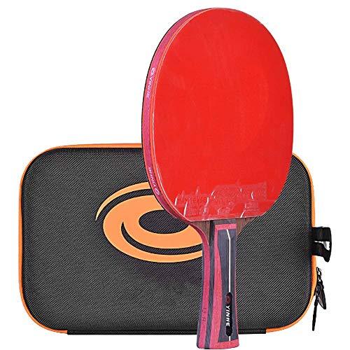Lerten Paleta de Ping Pong, Bate de Tenis de Mesa, Raqueta Ofensiva úNica de 13 Estrellas con Bolsa de Almacenamiento Adecuada para Entrenamiento Profesional Avanzado/A/Mango corto