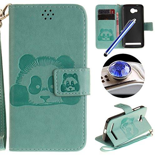 [ Huawei Y3 II,Huawei Y3 2 ] Cuir Coque,Huawei Y3 II,Huawei Y3 2 Housse de téléphone en Cuir, Etsue Retro Panda Motif Portefeuille en Cuir Flip Couverture de Case avec Lanière et Carte de Visite Dossier Fonction pour Huawei Y3 II,Huawei Y3 2 + Cadeaux Gratuit + 1 x Bleu stylet + 1 x Bling poussière plug (couleurs aléatoires)-Vert