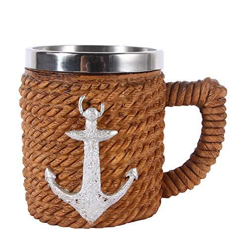 Piratas del Caribe Calavera Cerveza Mup, Resina Acero Inoxidable Buccaneer Medieval Capitán Copa Borracha, Cocina Náutica Temática Decoración Fiesta,Style 1