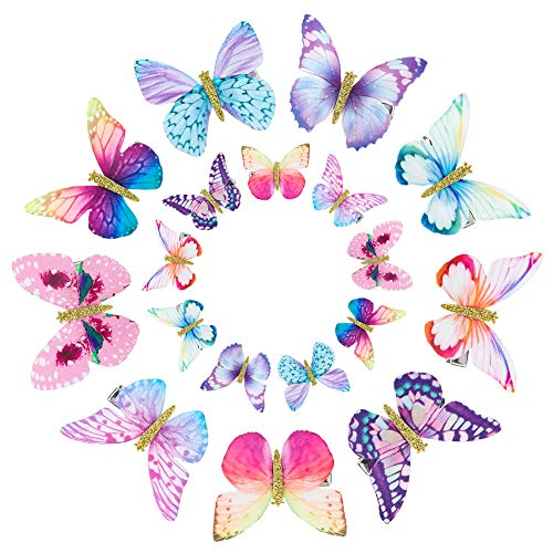 Rubywoo&chili 18 Stück Schmetterling-Haarclips, Damen Mädchen Kinder Haar Clips Set 3D Schmetterling Haarspange, Kopfschmuck für Braut Hochzeit Accessoire