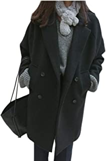 Women Elegant Notched Collar Double Breasted Wool Blend Mid Long Over Coat