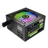 DBG Fuente de alimentación de PC de RGB 600W Semi Modular 80+ Bronce, Ventilador de RGB ATX Media Media Modular VP-600-M-RGB