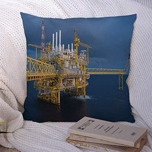 N\A Fundas Decorativas de Cojines para sofá Cama Plataforma de sofá Industria de Gas y petróleo en Alta mar Procesamiento Central Fábrica Industrial Tecnología Rig Compresor Funda de cojín Suave