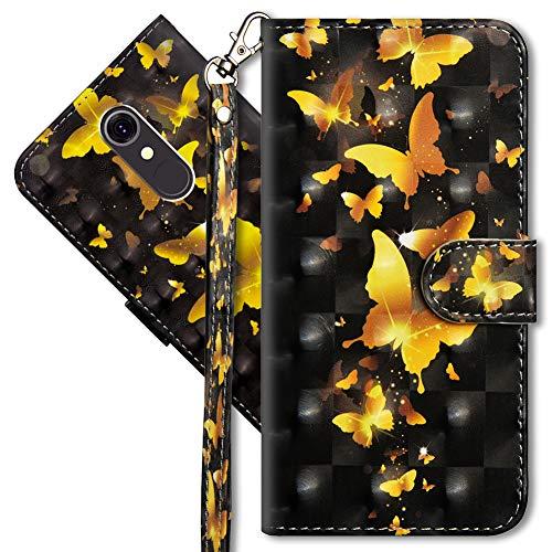 MRSTER LG Q7 Handytasche, Leder Schutzhülle Brieftasche Hülle Flip Hülle 3D Muster Cover mit Kartenfach Magnet Tasche Handyhüllen für LG Q7. YX 3D - Golden Butterfly