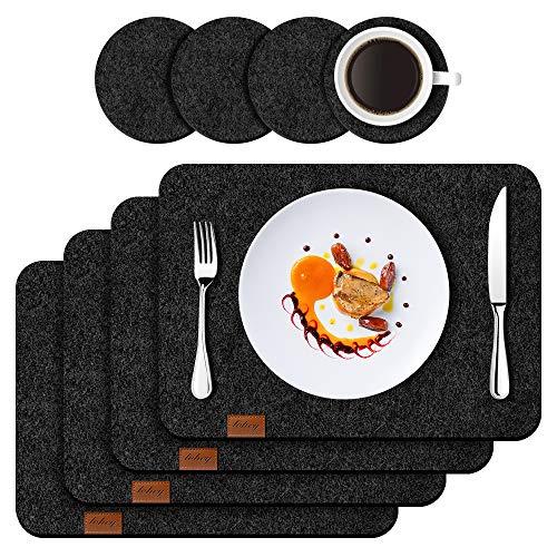 Filz Platzset Tischset mit Untersetzer 8er Set, 44x32 cm Hitzebeständig Anti-Rutsch Filzmatte Teller Untersetzer Abwaschbare Tischläufer Tischuntersetzer Platzdeckchen Filzuntersetzer (Dunkelgrau)