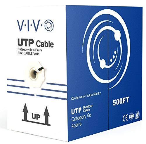 VIVO Black 500ft Bulk Cat5e, CCA Ethernet Cable, UTP Pull Box, Cat-5e Wire, Waterproof, Outdoor, Direct Burial CABLE-V011