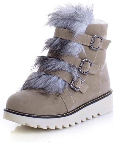 ZHRUI Pantalon d'hiver à Bout Rond pour Femme, Bottes d'hiver (Couleuré   Beige, Taille   37)