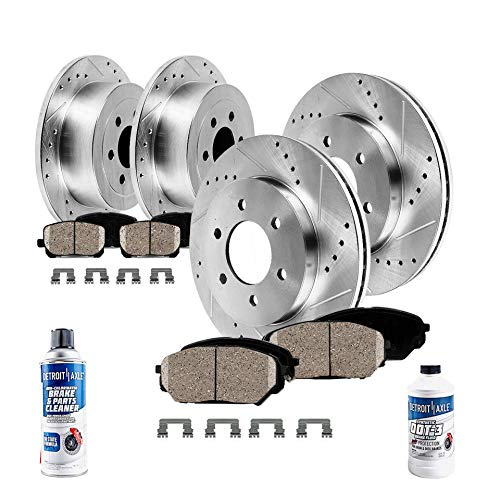 Detroit Axle - All (4) Front and Rear Drilled and Slotted Disc Brake Kit Rotors w/Ceramic Pads w/Hardware & Brake Kit Cleaner & Fluid for 2006 2007 2008 2009 2010 Hummer H3 - [2009-2010 H3T]