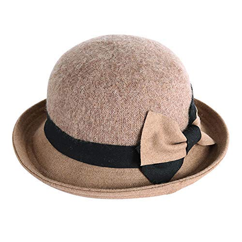 Zxx Hat-Female Winter Wool Blend Fisherman Hat Fashion Curling Bow Basin Hat Ladies Hat (4 Colors) Casual Hat (Color : A)