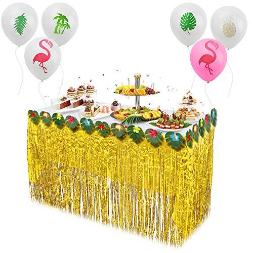 JSIN Hawaii Luau Tischröcke Set Hawaii Party Deko für Garten Party Deko, Dschungel Deko,BBQ Tropischen Garten, Sommer Tiki Party Tischdekorati - Golden