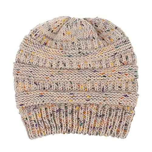 High Bun Ponytail Beanie Hat Chunky Soft Stretch Cable Knit Warm Fuzzy Lined Skull Beanie Sombreros acrílicos Hombres y Mujeres-Pink-Confetti