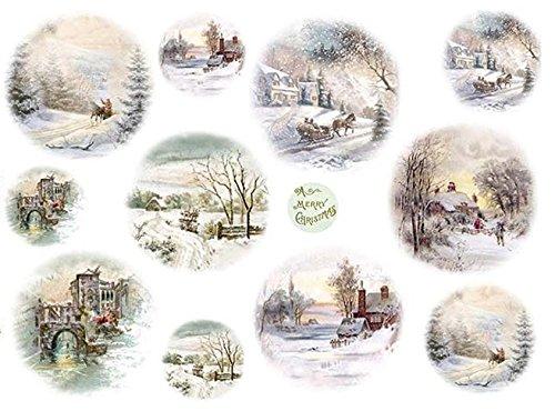 Zita's Creative Reispapier A4 - Winterlandschaft mit Schlitten. Motiv-Strohseide, Strohseidenpapier, Decoupage Papier