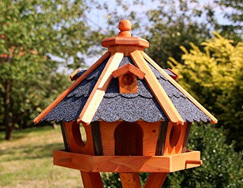 holzdekoladen Vogelhaus, Vogelhäuser mit Solarbeleuchtung mit und ohne Ständer behandelt Typ 23 (Blau, ohne Ständer)