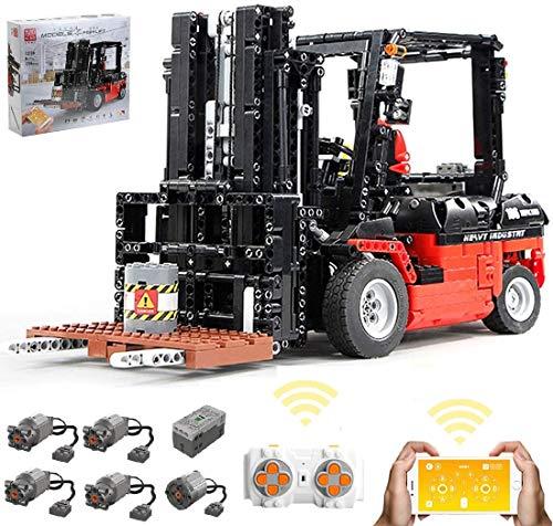 Foxcm Technik Gabelstapler, Technic Schwerlast-Gabelstapler, Bauset mit Fernbedienung und 5 Motoren, 1700 Klemmbausteine - Kompatibel mit Lego
