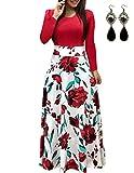 UUAISSO Mujer Vestido Fiesta Largo Manga Larga Floral Print Casual Verano Maxi Vestidos Playa Vacaciones Rojo M