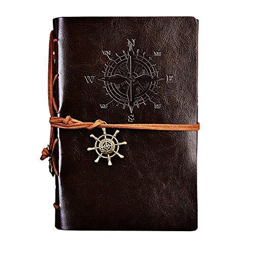 Diario del cuaderno - piratas - náutico - páginas en blanco - cuero artificial - cuero - vintage - marrón oscuro - idea de regalo de cumpleaños