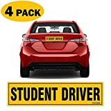 TOTOMO Student Driver Magnet Sticker - (Set of 4) 12'x3' Highly Reflective Premium Quality Car Safety Caution Sign Student Drivers #SDM04