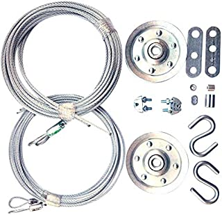 Cable and Pulley Replacement Kit - Two 3 inch Heavy Duty Sheaves. Two Pairs of Galvanized Aircraft Cables - 3/32 and 1/8 inch Diameter. 10 Fasteners for Overhead Sectional Garage Doors. DIY and Save