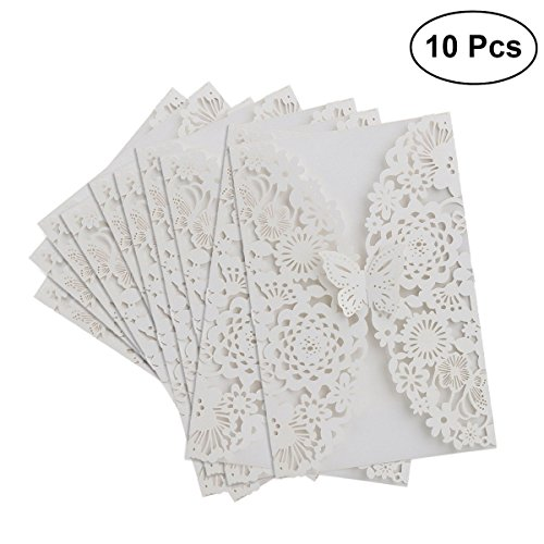 BinaryABC Graduation Party Invitations,Wedding Invitations,Vertical Laser Cut Butterfly Invitations Cards Kits 10Pcs (White)