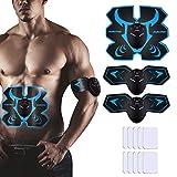 AUKUYEE Músculos Abdominales, Electroestimulador Muscular Abdominales Masajeador Eléctrico Cinturón, 6 Modos de Simulación, 10 Niveles Diferentes para Hombre y Mujer